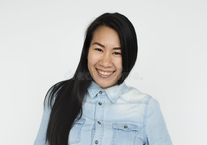Ασιατική έννοια πορτρέτου χαμόγελου γυναικών στοκ εικόνα