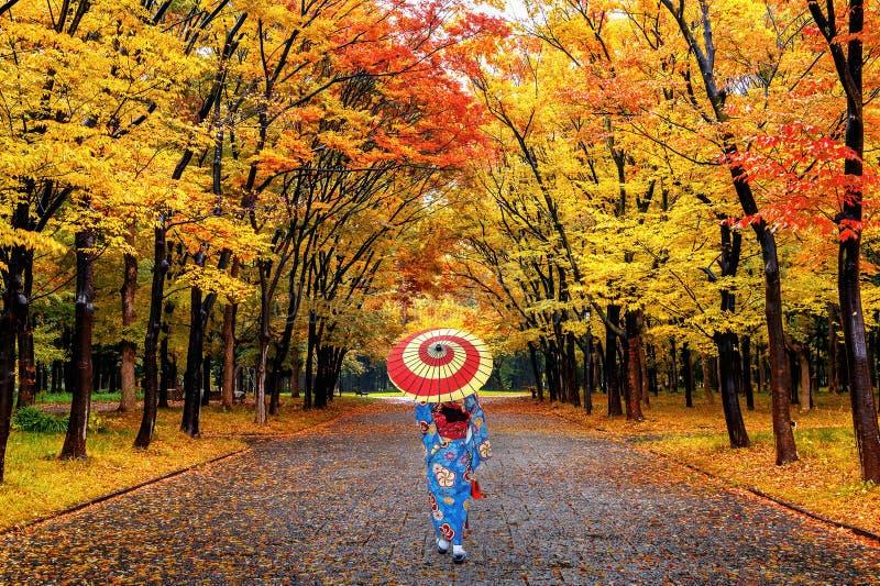 Ασιατική γυναίκα που φορά το ιαπωνικό παραδοσιακό κιμονό που περπατά στο πάρκο φθινοπώρου στοκ φωτογραφία με δικαίωμα ελεύθερης χρήσης