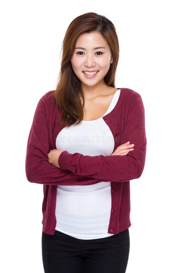 Ασιατική γυναίκα crosshand στοκ φωτογραφία
