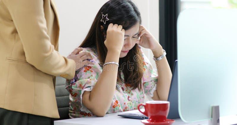 Ασιατική επιχειρηματίας σοβαρή για την εργασία και χρησιμοποίηση του σημειωματάριου για τους συνέταιρους που συζητούν τα έγγραφα  στοκ εικόνα με δικαίωμα ελεύθερης χρήσης