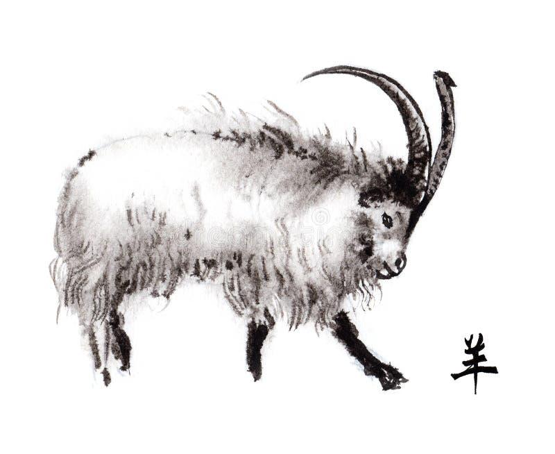 Ασιατική ζωγραφική μελανιού αιγών, sumi-ε διανυσματική απεικόνιση