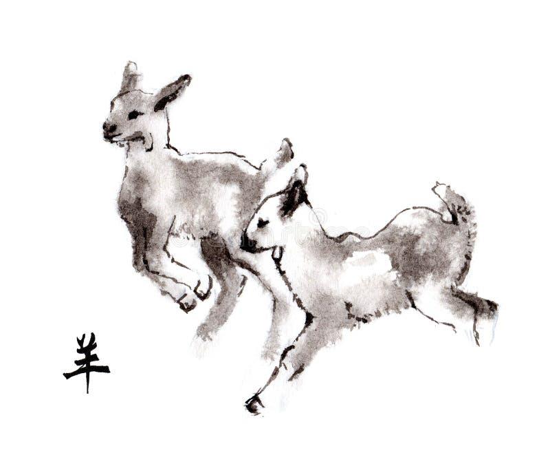 Ασιατική ζωγραφική μελανιού αιγών, sumi-ε απεικόνιση αποθεμάτων