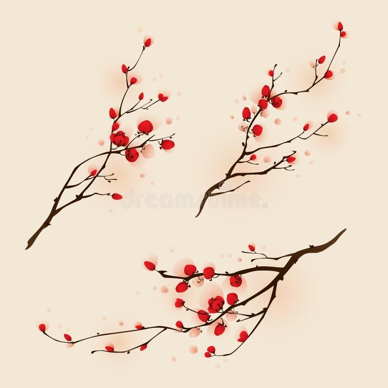 Ασιατική ζωγραφική ύφους, άνθος δαμάσκηνων την άνοιξη ελεύθερη απεικόνιση δικαιώματος