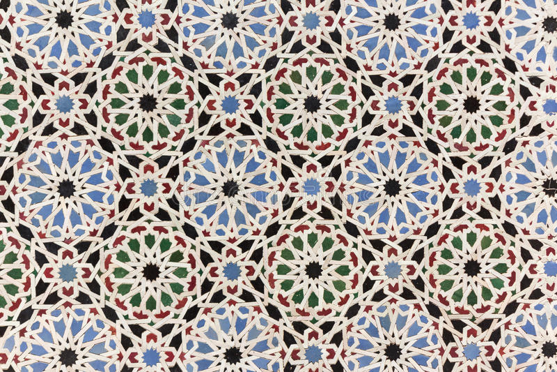 Ασιατική διακόσμηση μωσαϊκών - κεραμίδια τοίχων του Μαρόκου στοκ φωτογραφία