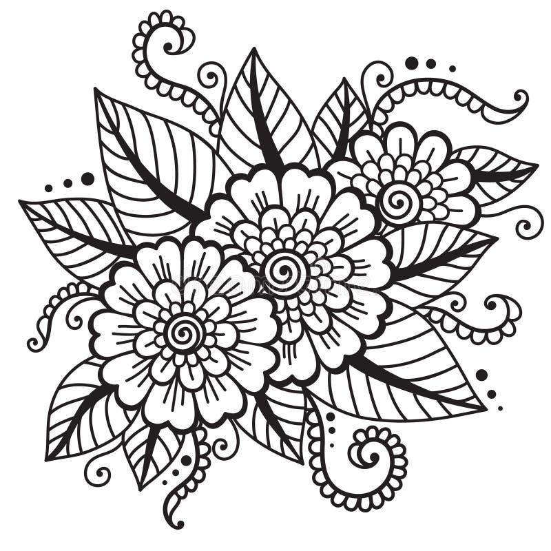Ασιατική διακόσμηση λουλουδιών ελεύθερη απεικόνιση δικαιώματος
