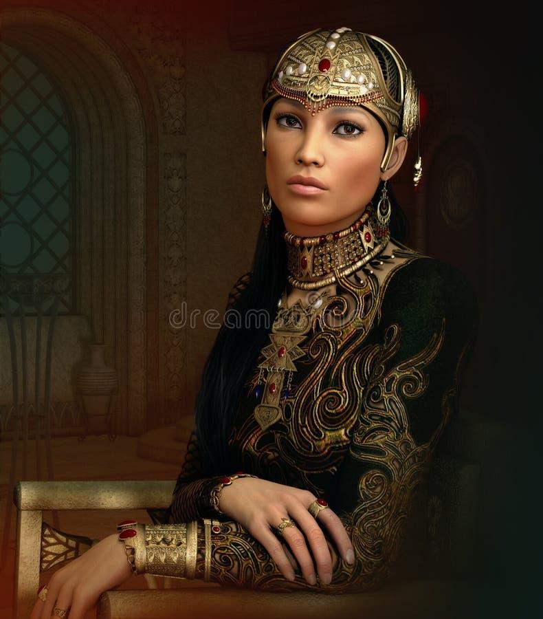 Ασιατική πριγκήπισσα, τρισδιάστατο CG διανυσματική απεικόνιση