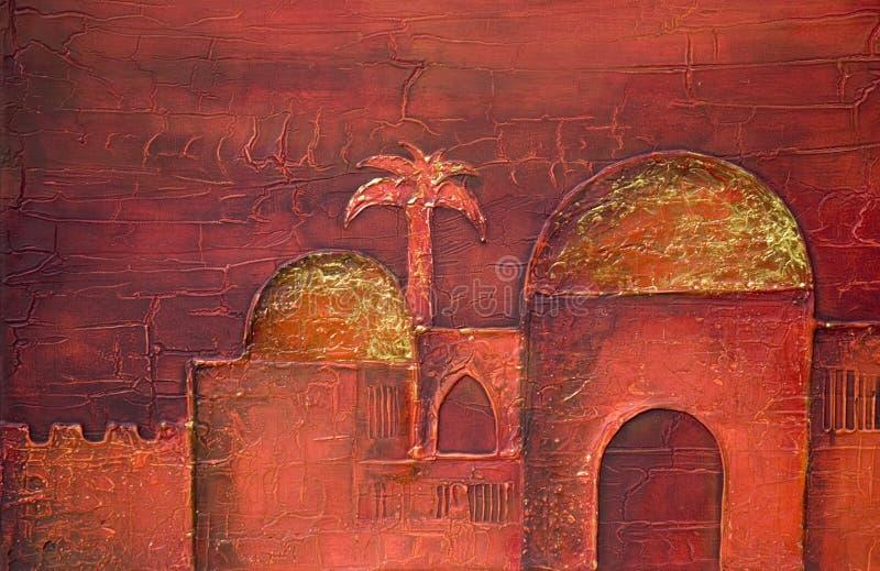 ασιατική πόλη ζωγραφικής απεικόνιση αποθεμάτων