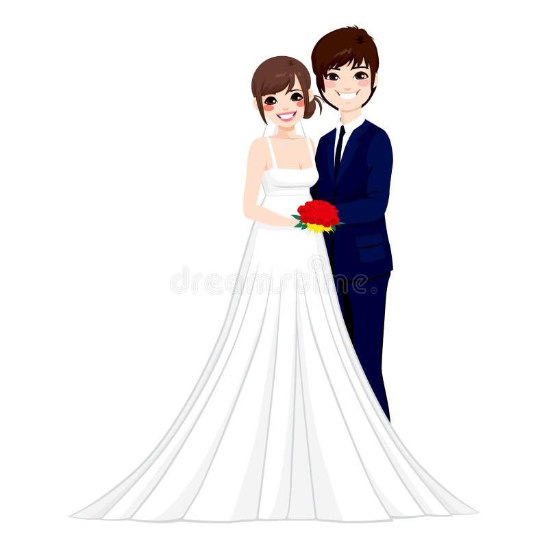 Ασιατική τοποθέτηση γαμήλιου ζεύγους ελεύθερη απεικόνιση δικαιώματος