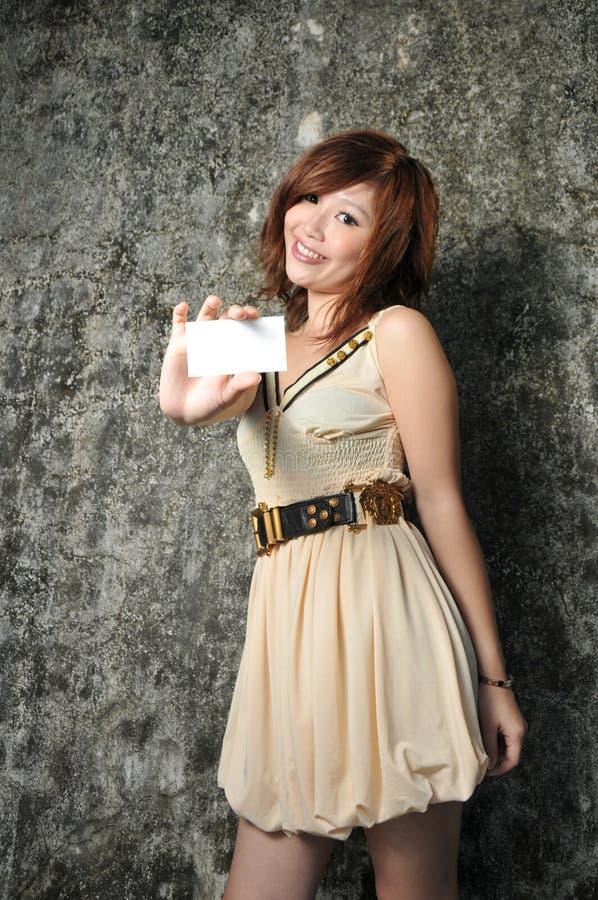 ασιατική όμορφη γυναίκα ονόματος καρτών στοκ φωτογραφίες