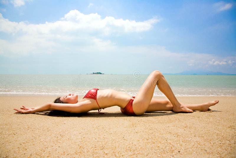 ασιατική bikini παραλιών αδύνατ&e στοκ εικόνες