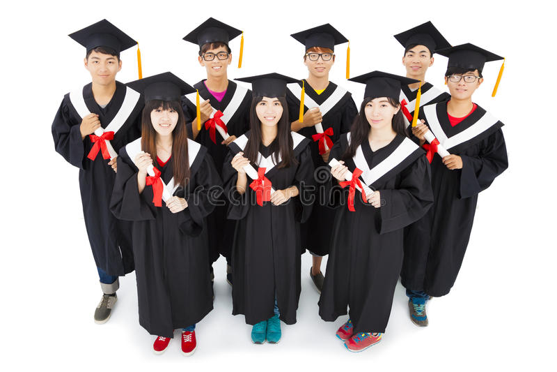 ασιατικοί σπουδαστές που γιορτάζουν τη βαθμολόγηση στοκ φωτογραφία