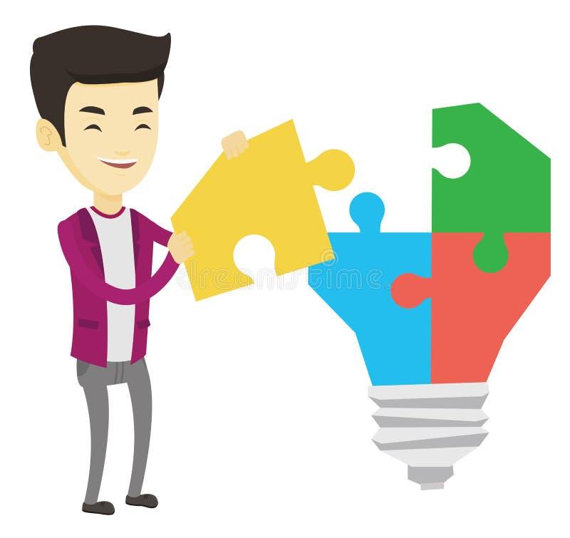 Ασιατικός επιχειρηματίας που έχει την επιχειρησιακή ιδέα ελεύθερη απεικόνιση δικαιώματος