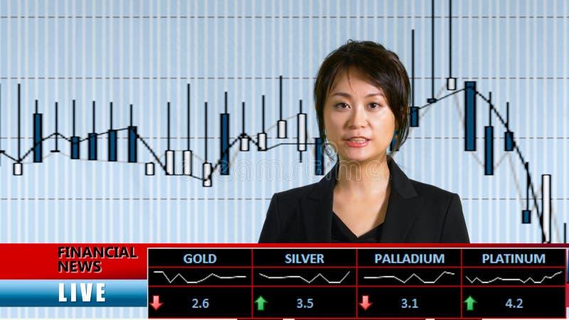 Ασιατικός θηλυκός οικονομικός παρουσιαστής ειδήσεων στοκ φωτογραφία