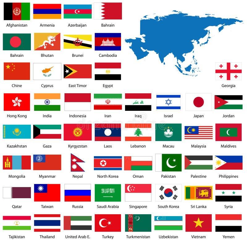 ασιατικός λεπτομερής χάρτης σημαιών διανυσματική απεικόνιση
