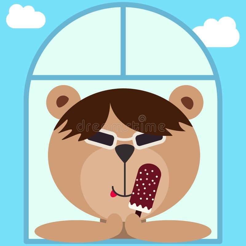 Ασιατικός σκληρός teddy αντέχει στα σκοτεινά γυαλιά, θεάματα Αντέξτε με το παγωτό κοιτάζοντας έξω απεικόνιση αποθεμάτων