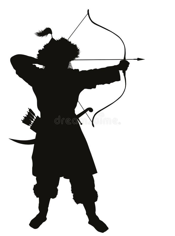 Ασιατικός τοξότης Θέμα πολεμιστών ελεύθερη απεικόνιση δικαιώματος