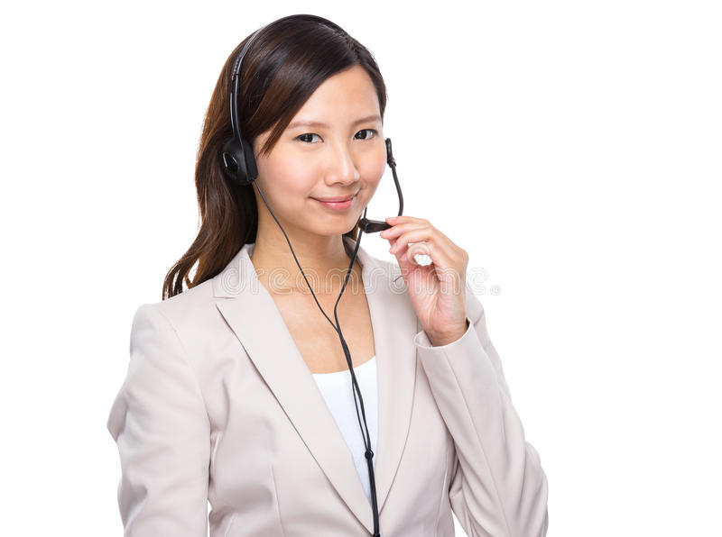 Ασιατικός χειριστής εξυπηρετήσεων πελατών στοκ εικόνες