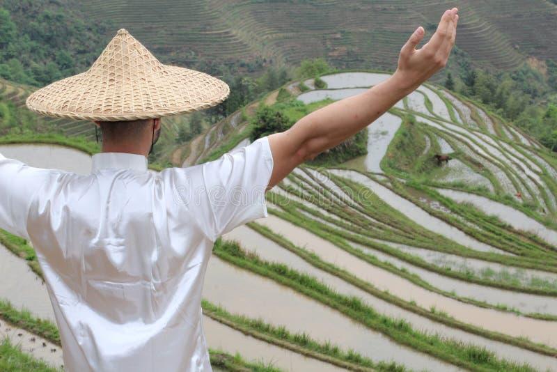 Ασιατικός χωρικός στα ασιατικά πεζούλια ρυζιού στοκ εικόνες