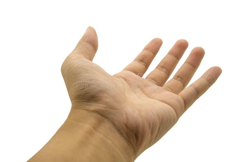Ασιατικό άτομο χεριών κινηματογραφήσεων σε πρώτο πλάνο που απομονώνεται στο άσπρο υπόβαθρο στοκ φωτογραφίες με δικαίωμα ελεύθερης χρήσης