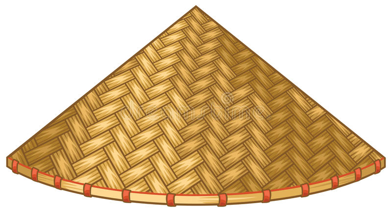 Ασιατικό ή κινεζικό κωνικό καπέλο αχύρου απεικόνιση αποθεμάτων