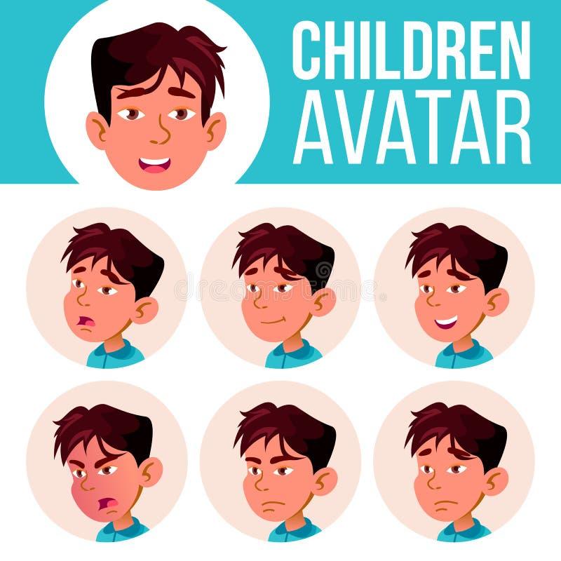 Ασιατικό αγοριών διάνυσμα παιδιών ειδώλων καθορισμένο kindergarten Αντιμετωπίστε τις συγκινήσεις Ιστός, κεφάλι, εικονίδιο Ομορφιά ελεύθερη απεικόνιση δικαιώματος