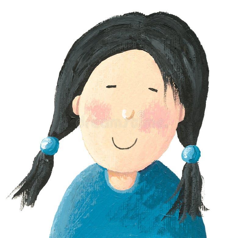 ασιατικό κορίτσι λίγα διανυσματική απεικόνιση