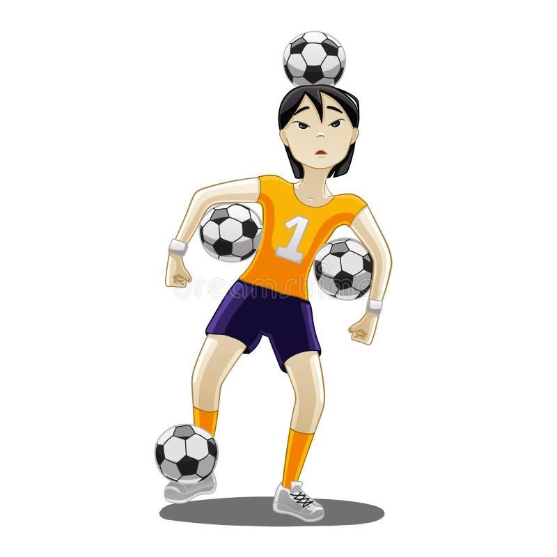 Ασιατικό κορίτσι με τις σφαίρες ποδοσφαίρου απεικόνιση αποθεμάτων
