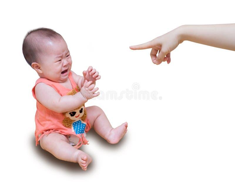 Ασιατικό μωρό που φωνάζει επιπλήττοντας μητέρων που απομονώνεται στο άσπρο backgr στοκ εικόνα με δικαίωμα ελεύθερης χρήσης