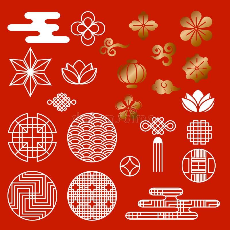Ασιατικό ασιατικό παραδοσιακό κορεατικό ιαπωνικό κινεζικό διανυσματικό σύνολο στοιχείων διακοσμήσεων σχεδίων ύφους, υπόβαθρο ιστο διανυσματική απεικόνιση