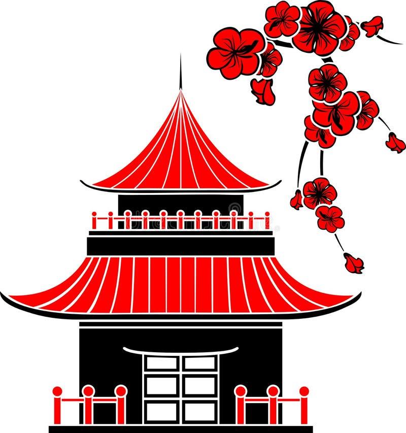 Ασιατικό σπίτι απεικόνιση αποθεμάτων
