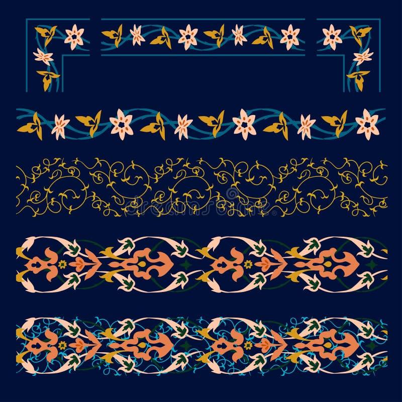 Ασιατικό σύνολο συνόρων σχεδίων Samrkand, σύγχρονος, ύφος deco τέχνης άνευ ραφής διάνυσμα προτύπων ελεύθερη απεικόνιση δικαιώματος