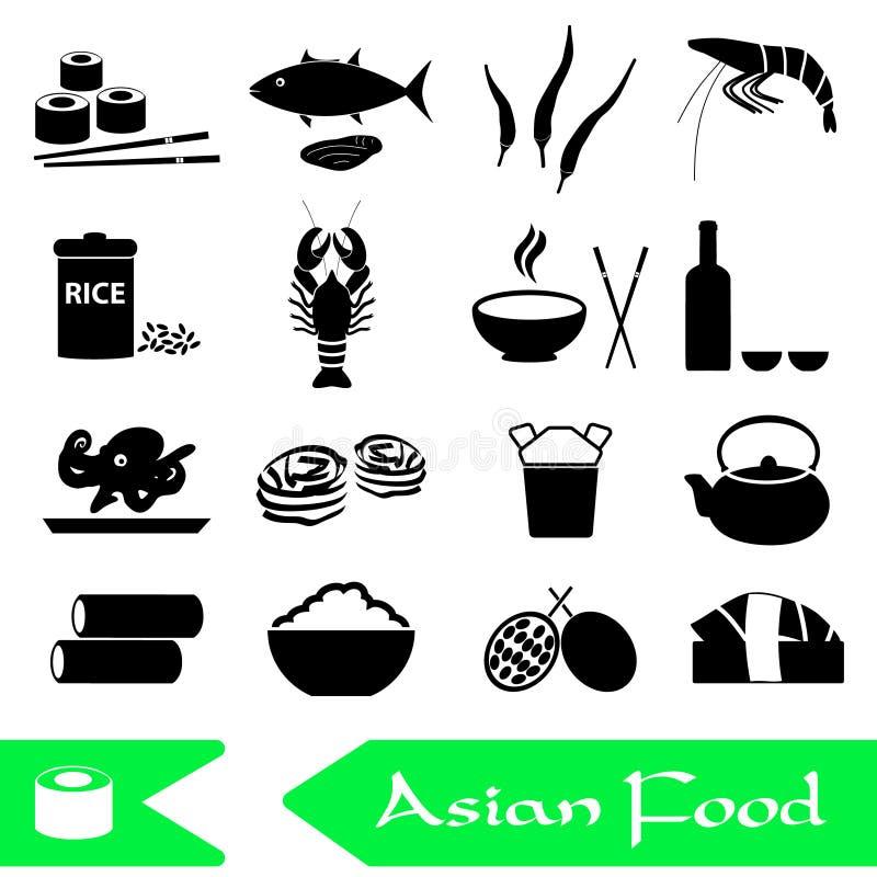 Ασιατικό σύνολο θέματος τροφίμων απλών εικονιδίων διανυσματική απεικόνιση