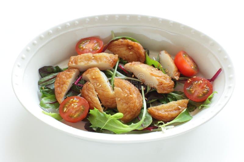 Ασιατικό φαγητό, κέικ ψαριών και σαλάτα ντομάτας κεράσι στοκ εικόνα με δικαίωμα ελεύθερης χρήσης