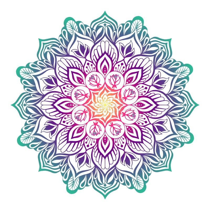 Ασιατικό mandala με τα λουλούδια λωτού ελεύθερη απεικόνιση δικαιώματος