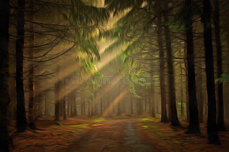 δασικός ήλιος ακτίνων διανυσματική απεικόνιση
