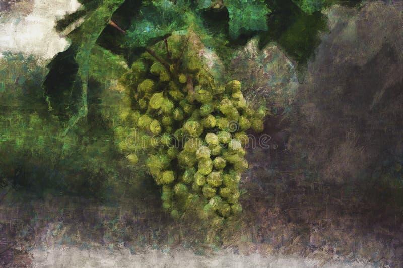 δασικός ποταμός ελαιογραφίας τοπίων Βούρτσα των πράσινων σταφυλιών στοκ φωτογραφία με δικαίωμα ελεύθερης χρήσης