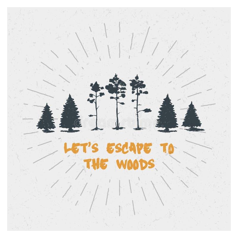 δασικό δάσος δέντρων χιονιού φύσης ανασκοπήσεων πεύκο ερυθρελάτες Διανυσματική έννοια σχεδίου αφισών τυπογραφίας Σύνολο στοκ εικόνες