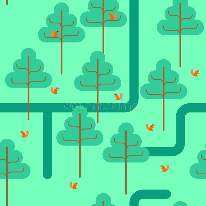 δασικό πρότυπο άνευ ραφής Διακόσμηση πάρκων Δέντρα και σκίουροι διανυσματική απεικόνιση