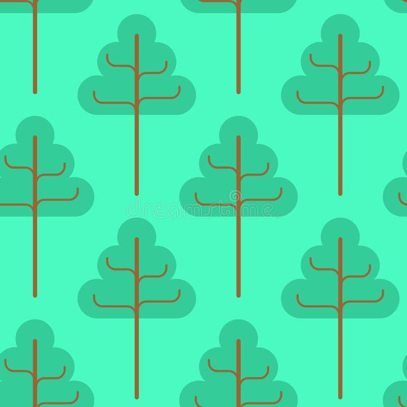δασικό πρότυπο άνευ ραφής Πράσινη διακόσμηση δέντρων Textu υφάσματος παιδιών διανυσματική απεικόνιση