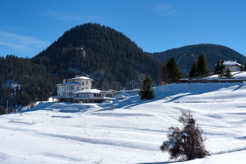 δασικό χειμερινό δάσος σκηνής λιμνών ειρηνικό Μικρά σπίτια στο βουνό σε μια ηλιόλουστη χειμερινή ημέρα Χιονώδες παραμύθι στη Βουλ στοκ φωτογραφίες