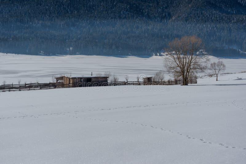 δασικό χειμερινό δάσος σκηνής λιμνών ειρηνικό Μικρό εξοχικό σπίτι κοντά στο φράγμα σε μια ηλιόλουστη χειμερινή ημέρα Χιονώδες παρ στοκ φωτογραφίες