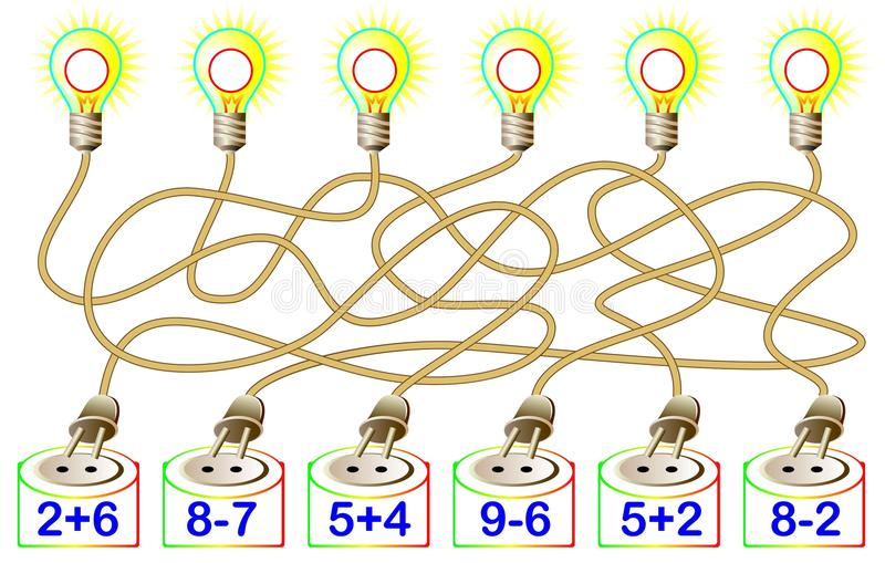 Ασκήσεις για τα παιδιά - πρέπει να λύσετε τα παραδείγματα και να γράψετε τις απαντήσεις στους αντίστοιχους λαμπτήρες διανυσματική απεικόνιση