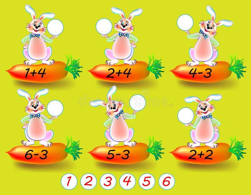 Ασκήσεις για τα παιδιά - πρέπει να λύσετε τα παραδείγματα και να γράψετε τους αριθμούς στους σχετικούς κύκλους διανυσματική απεικόνιση