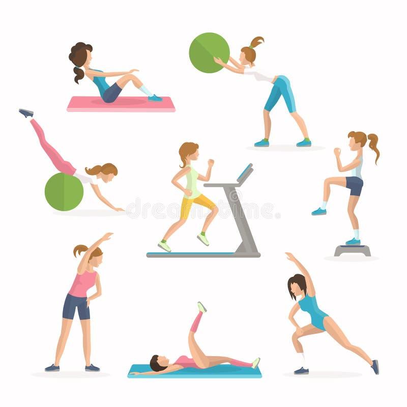 Ασκήσεις ικανότητας αερόμπικ Μειωμένος υπερβολικό λίπος Οι γυναίκες επιλύουν στη λέσχη ικανότητας απεικόνιση αποθεμάτων