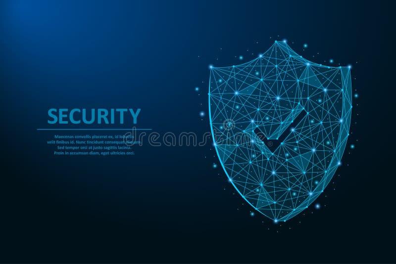 Ασπίδα ασφάλειας Έννοια ασφάλειας που γίνεται από τα σημεία και τις γραμμές, polygonal πλέγμα wireframe στο νυχτερινό ουρανό, σκο απεικόνιση αποθεμάτων