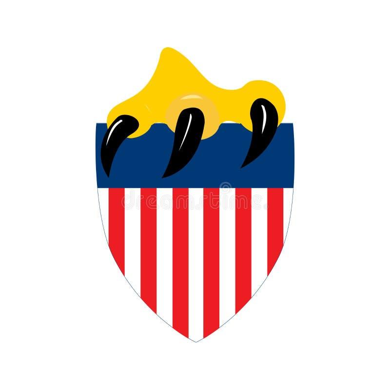 Ασπίδα διακριτικών αμερικανικών σημαιών με το νύχι αετών, έννοια ημέρας της ανεξαρτησίας, διανυσματική απεικόνιση που απομονώνετα απεικόνιση αποθεμάτων