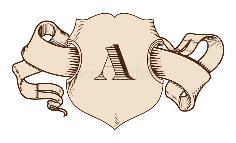 Ασπίδα και κορδέλλα στο παλαιό γραφικό ύφος Εκλεκτής ποιότητας στοιχεία ελεύθερη απεικόνιση δικαιώματος