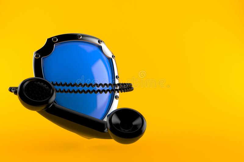 Ασπίδα με το μικροτηλέφωνο απεικόνιση αποθεμάτων