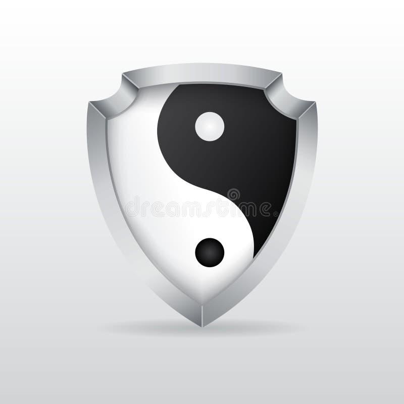 Ασπίδα με το yin yang διανυσματική απεικόνιση