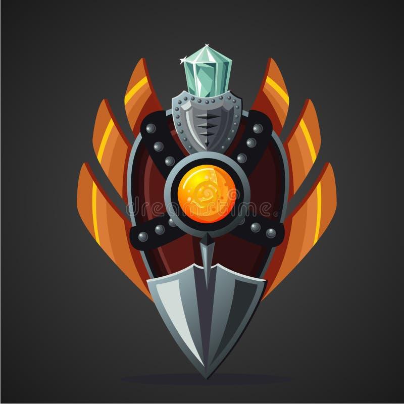 Ασπίδα φαντασίας Μαγικό όπλο με το κρύσταλλο Έννοια σχεδίου παιχνιδιών απεικόνιση αποθεμάτων